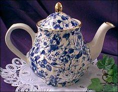 Arthur Wood Blue and White Floral Chintz Teapot.