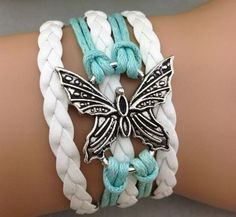 Mint & White Butterfly Bracelet