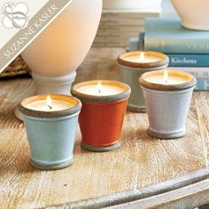 Suzanne Kasler Set of 3 Terra Cotta Candle Pots by Ballard Designs