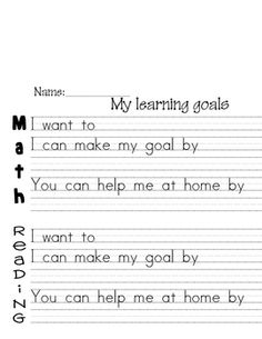 These sheets are handy for helping students set their own learning goals that they can share with their family during student-led conferences.E...