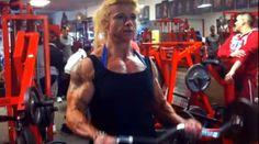 Female bodybuilder and NAC Ms World Tamara Makar pumps her huge biceps to the max