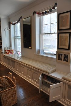 Under window built-ins. From the Living With Kids Home Tour featuring Amy Dolgin.