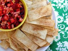 Fruit salsa and cinnamon chips  fruit chips appetizers snacks party ideas party food salsa