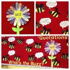 """""""said"""" alternatives flower with conversation bubbles to practice using the new words and quotation marks"""