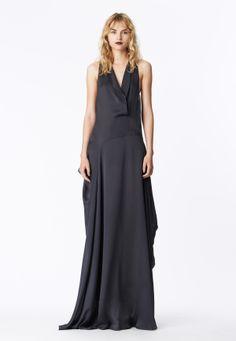 LOOK 21 Charcoal silk satin chiffon asymmetrical sling gown.