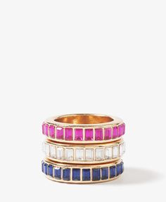 F21 Emerald cut stacked ring set, blue/magenta $6.80