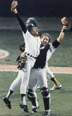 Willie Hernandez (A.L. Cy Young and A.L. MVP) and Lance Parrish celebrate winning the 1984 World Series!