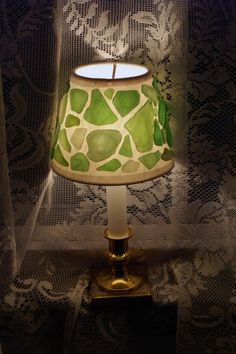 Shades of Green Sea Glass Accent Lamp Shade.