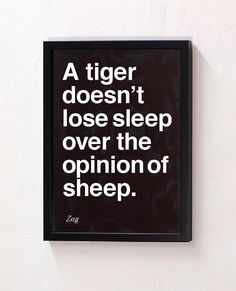 """A tiger doesn't lose sleep over the opinions of sheep."" #quote"
