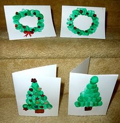 homemade fingerprint holiday cards for kids to make! Christmas Trees and Wreaths!