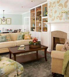 Aqua + Tan + Green--great combo for a living room that feels comfy but still stylish.