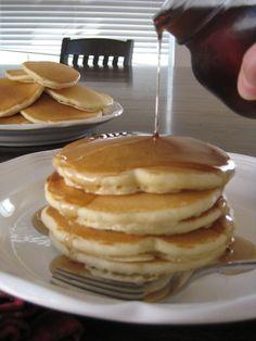 homemade pancakes recipe: milk, eggs, oil, flour, sugar, baking powder, baking soda, salt