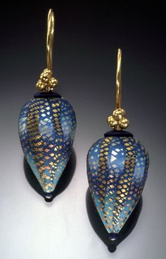 Elise Winters. Polymer clay, 14K gold vermeil ear wires.