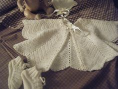 vintage crocheted baby clothes bonnet booties sweater. $18.00, via Etsy.