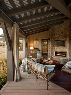 ventless fireplace insert...exposed beams with corrugated metal roof. like curtains.