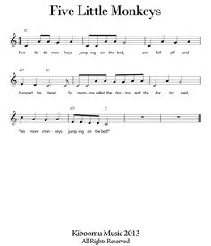 FIVE LITTLE MONKEYS SONG and Free Printable Five Little Monkeys Sheet Music!