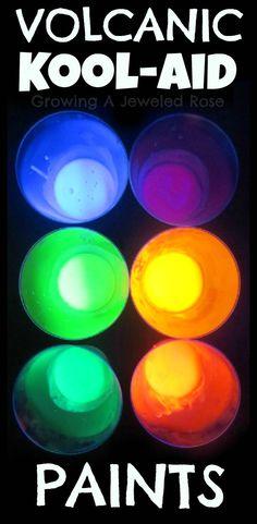 Magic Erupting Kool- aid paints that GLOW!  So COOL!