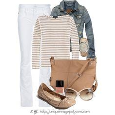 tan/white stripes with white,denim jacket