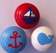 Nautical Dresser Knobs for Nursery - sail boat, anchor and whale in red, blue and white.  $6