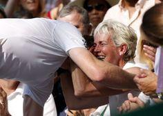 Andy Murray kisses his mum, Judy Murray, after defeating Serbia's Novak Djokovic in the Wimbledon men's final. Photo: Jonathan Brady/PA Wire