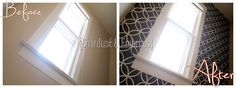 hallway before and after, prefect use of a stencil to jazz up a boring lackluster wall. LOVE IT!
