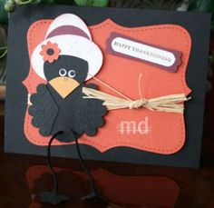 cardspunch art, crowcard, the crow, fall cards, punchart, thanksgiving, stampinup card, scrapbook pages, crows