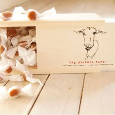Goat Milk Caramel Wooden Gift Box made in VT by Big Picture Farm. Purchase to support 8 American workers. Gets you 595 Boom™ Points. #MadeInUSA