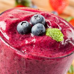 Raspberries and blueberries make this summery smoothie delicious!