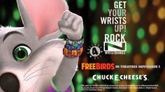 Collect all four Rock-N-Wristbands (with the purchase of any size pizza)! #ChuckECheese #FreeBirds