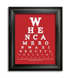 Ferris Bueller's Day Off, When Cameron Was In Egypt Land Let My Cameron Go Eye Chart, 8 x 10 Giclee Print BUY 2 GET 1 FREE