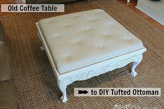 thrift store coffee table turned diy tufted ottoman, chalk paint, diy, painted furniture, repurposing upcycling