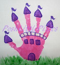 princess castle, craft, princ castl, handprint art, hand prints, castl hand