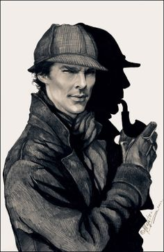 Beauteous illustration of Sherlock, old-school style