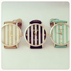 Striped watches in tan, black, and mint!
