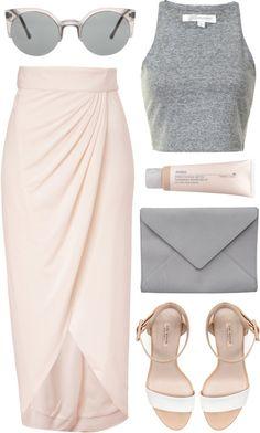 skirt + basic tank + ankle strap heels.
