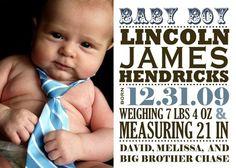 Baby Boy Birth Announcement birth babi, font, babi tie, baby boys, babi boy, babi girl, ador announc, baby boy birth announcements, kid