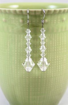 Vintage crystal dangle earrings pierced French by madebysheri, $16.00