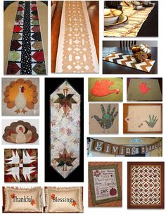 Free patterns for Thanksgiving: table runners, placemats, pillows, wall hanging and quilt.  Updated 2012.