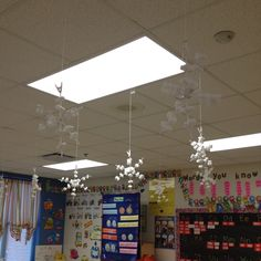 Pipe cleaner and packing peanut snowflakes.