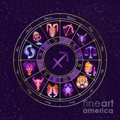 PERSONALISED ZODIAC ART - Sagittarius - Zodiac Lightburst Circle by ©ifourdezign - Available to buy #Prints #Posters #FineArtAmerica #Zodiac #Astrology #Starsigns #TwelveSigns #Fractal #Abstract #DigitalArt (Please retain ALL credit -TY)