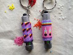 Beaded mini flashlight key chains