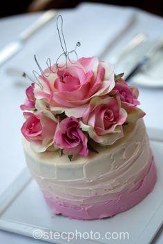 Small cake inspiration! :  wedding mini cake ombre cake pink cake rose cake topper diy cake topper 474