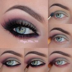 beauti eyeshadow, nail, eye makeup, dramatic makeup for green eyes, little black dresses, color smokey, smokey eye, hair, plum