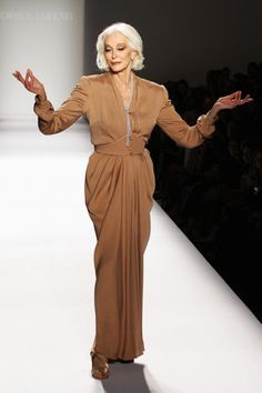 81 year old Carmen Dell'Orefice walks the runway at the Norisol Ferrari Spring 2013 fashion show.