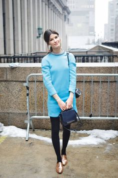 Hanneli Mustaparta in baby blue and metallic flats #NYFW #streetstyle #fashionweek