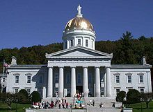 The gold leaf dome of the neoclassical Vermont State House (Capitol) in Montpelier.