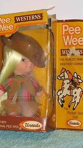 Vintage PEE WEE Western Cowgirl Doll with Box Uneeda Kiddle Type!