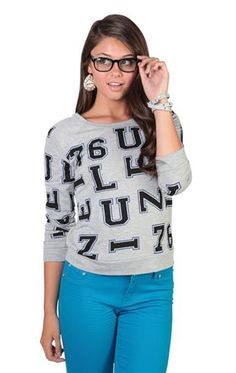 Deb Shops long sleeve french terry sweatshirt with all over letter print    $18.67