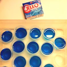 Bubble Gum Jello Shots 3oz Berry Blue Jello 1C Boiling Water 1/2C Cold Water 1/2C Cotton Candy Vodka