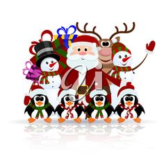 iCLIPART - Clip Art Illustration of Santa Claus, Penguins, Reindeer and Snowman on the Ice